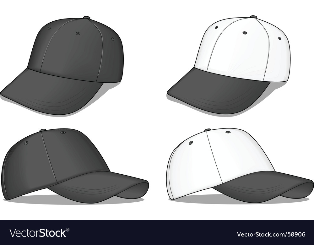Black baseball caps vector