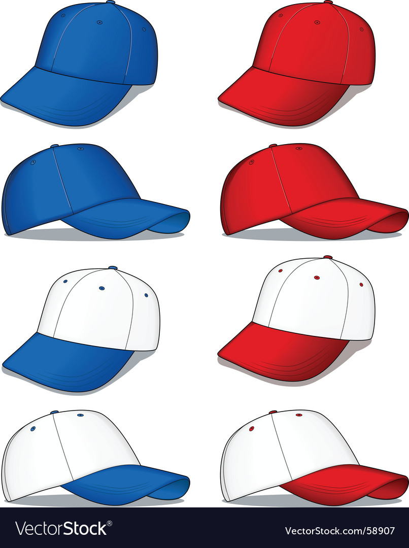 Baseball caps red and blue vector