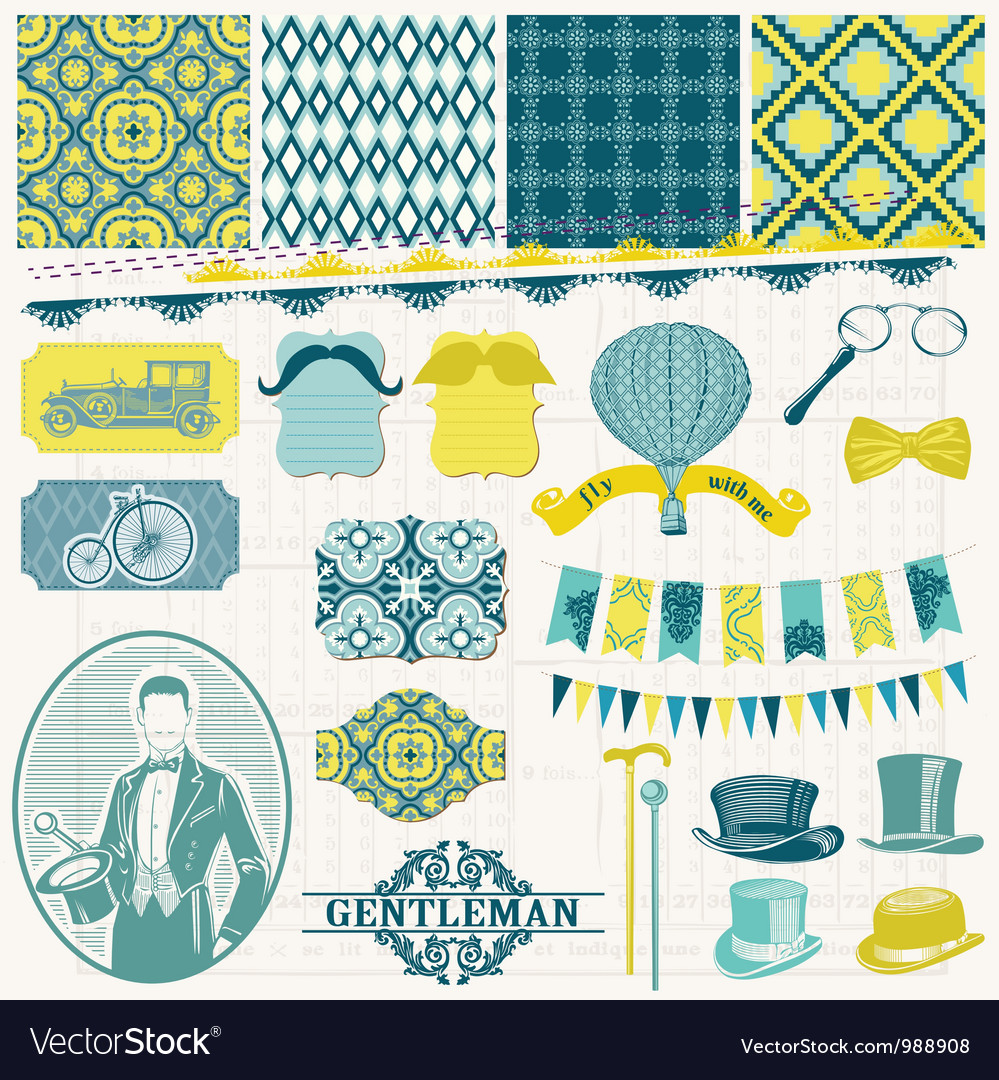 Vintage gentlemens accessories set vector