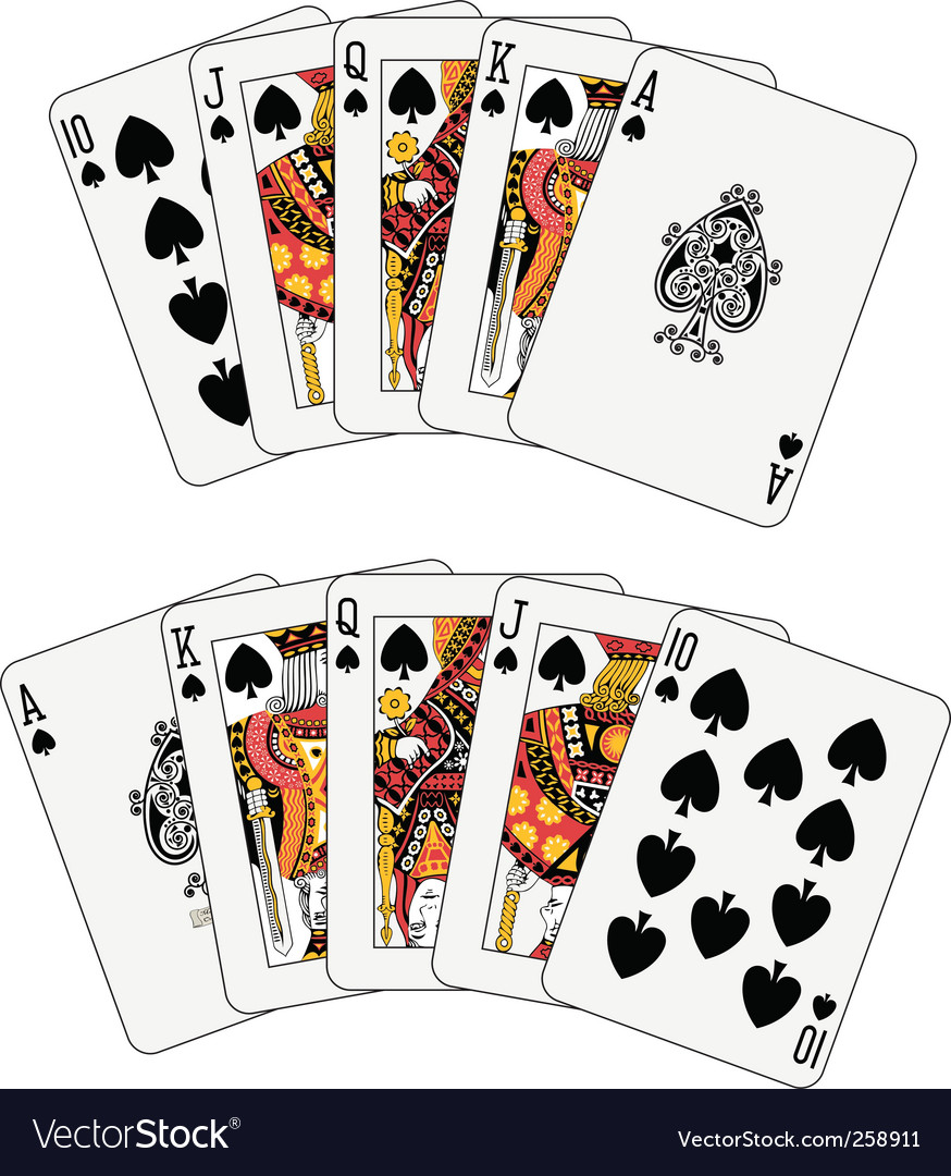 Royal flush spade vector