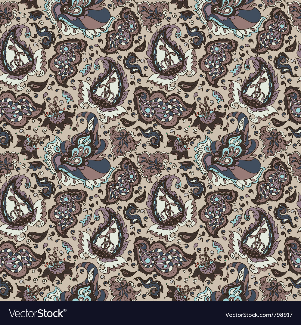 Seamless background from a paisley ornament vector
