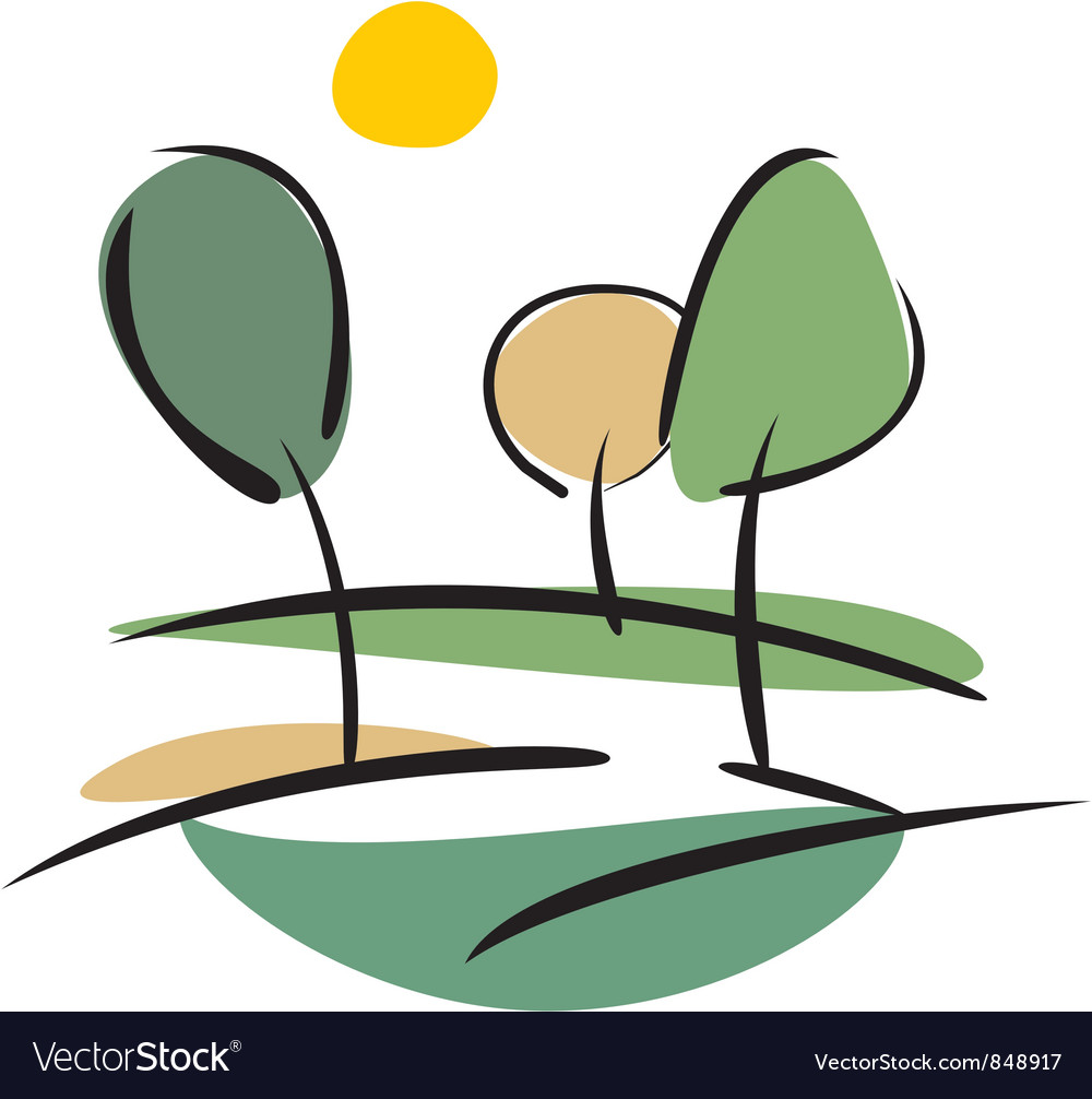 Trees and sun landscape vector