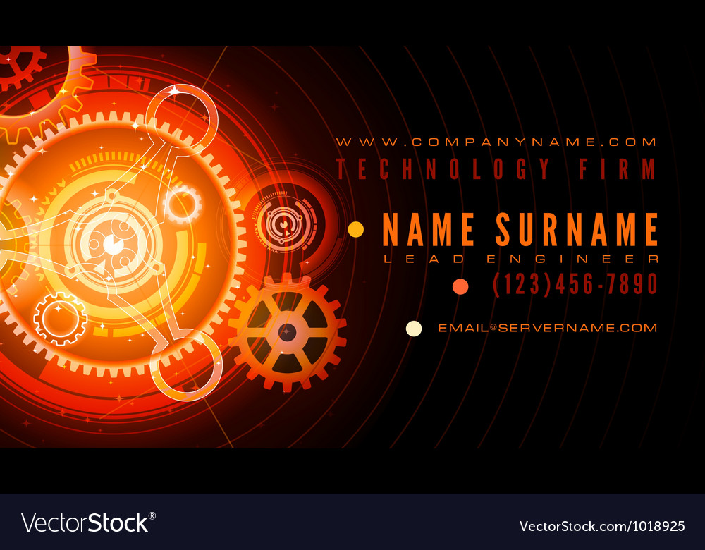 Technology engineer business card template vector