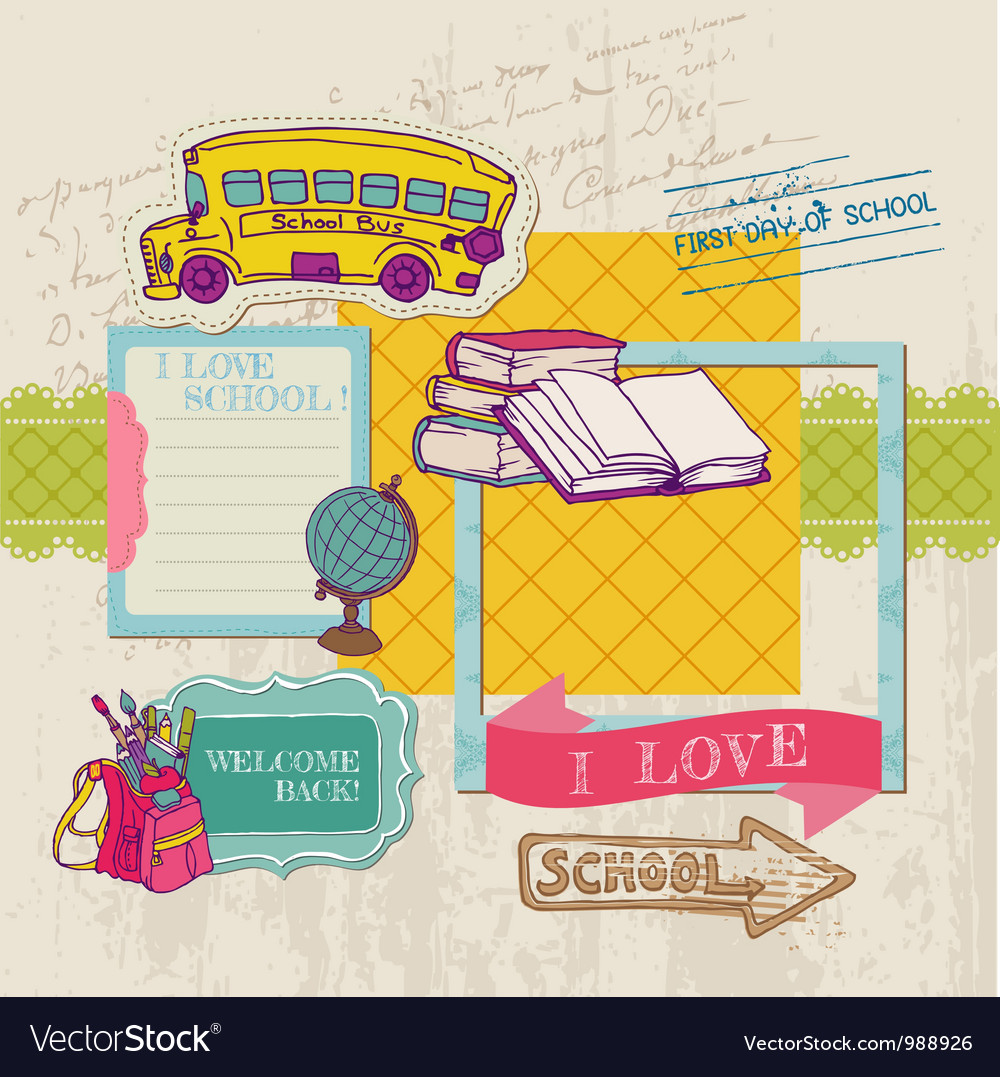 Scrapbook design elements  back to school vector