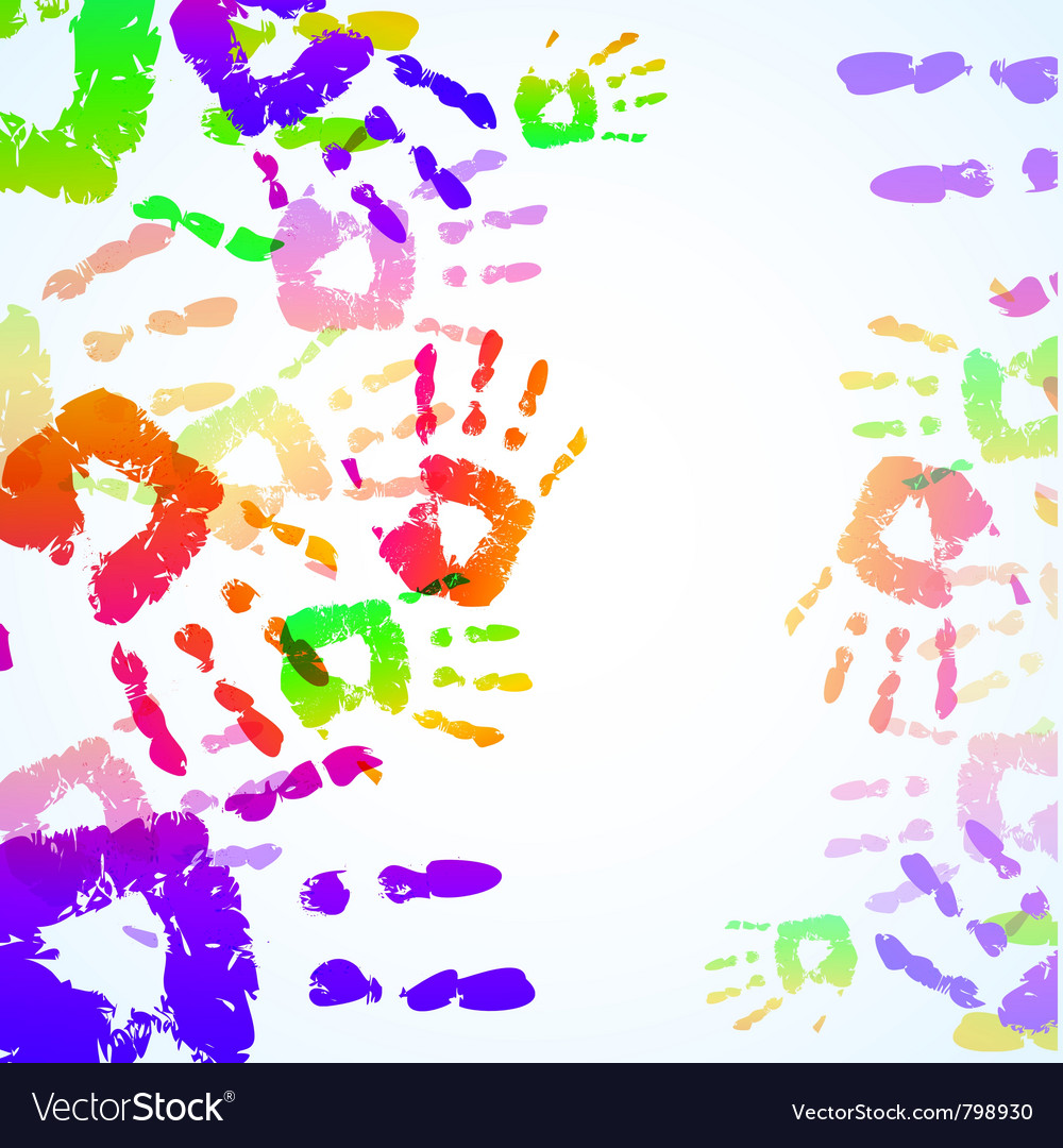 Colorful hand prints background vector