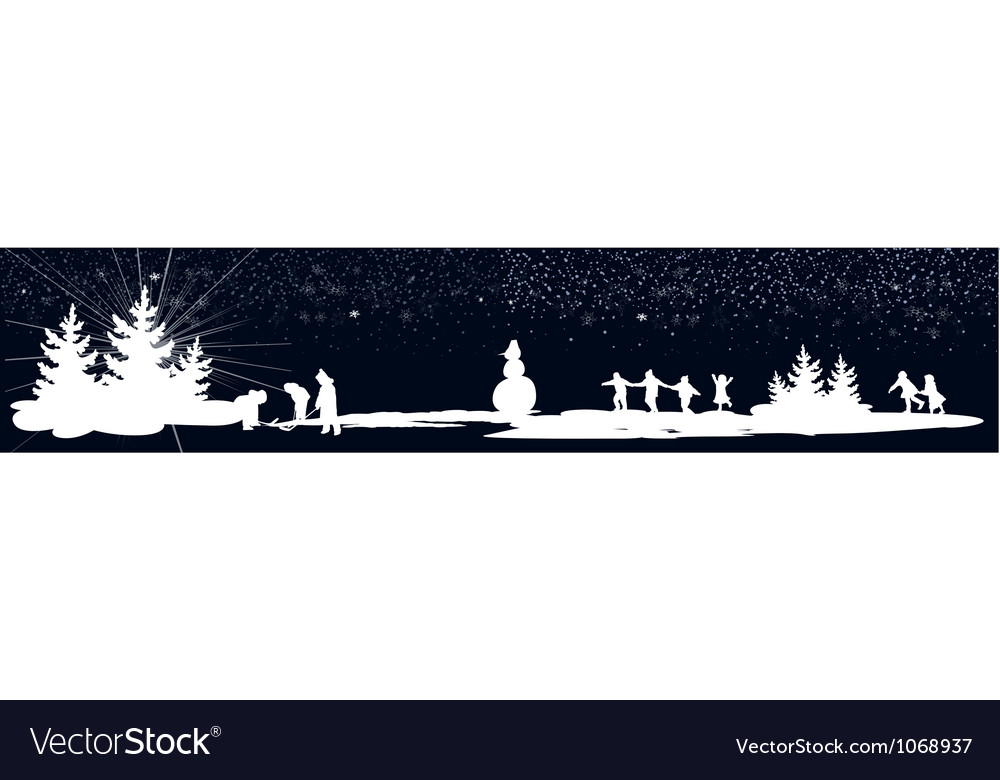 Kids playing winter games banner vector