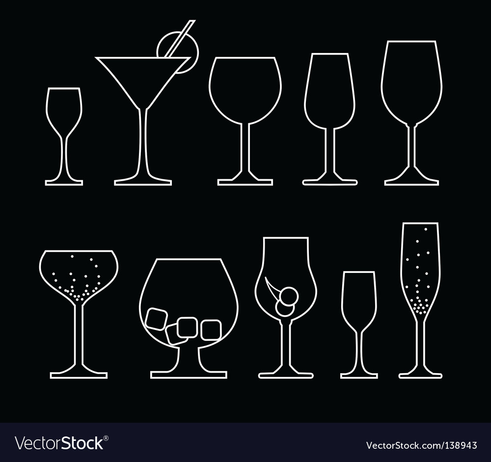 Drink silhouettes vector