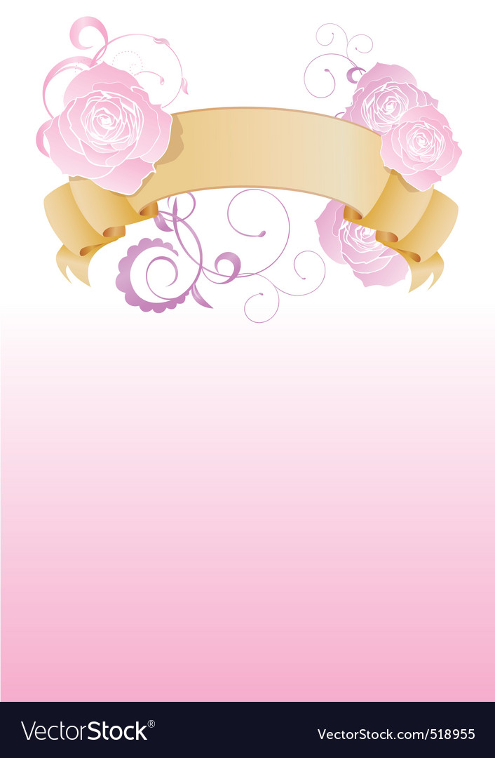Vintage banner with flowers on pink background vector