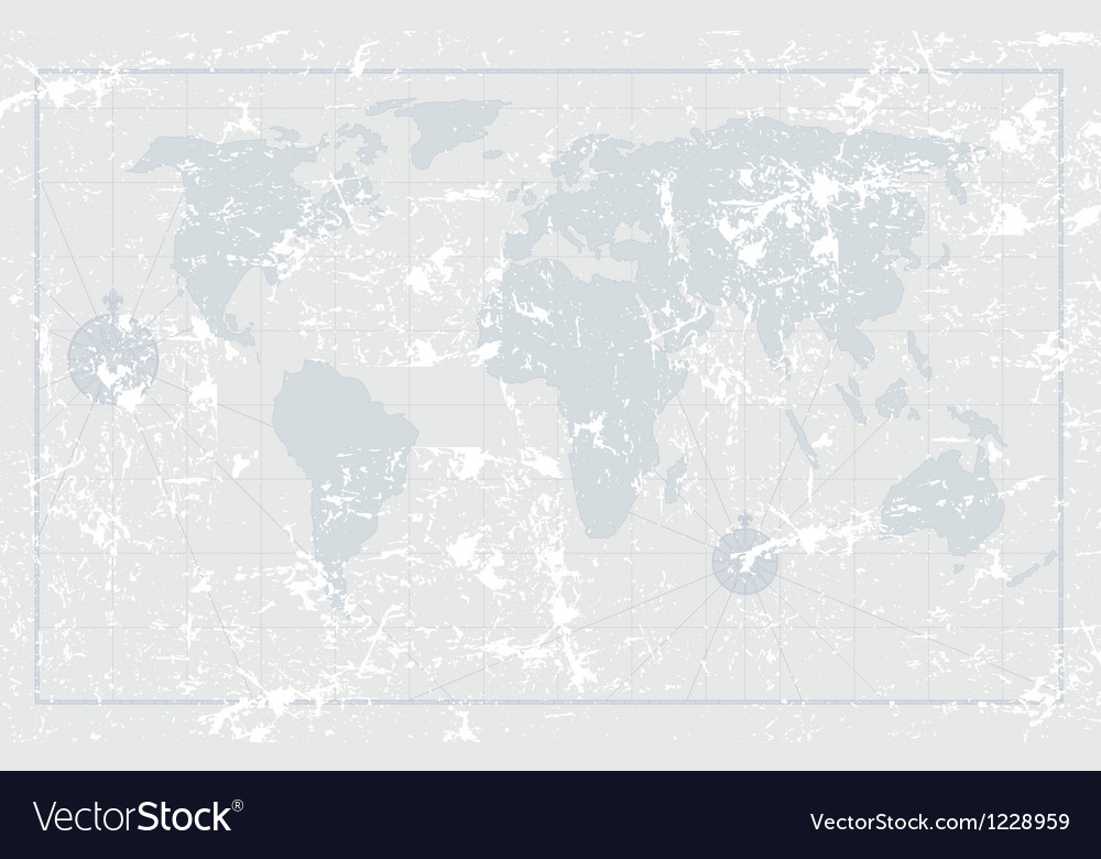Nautical grunge world map vector