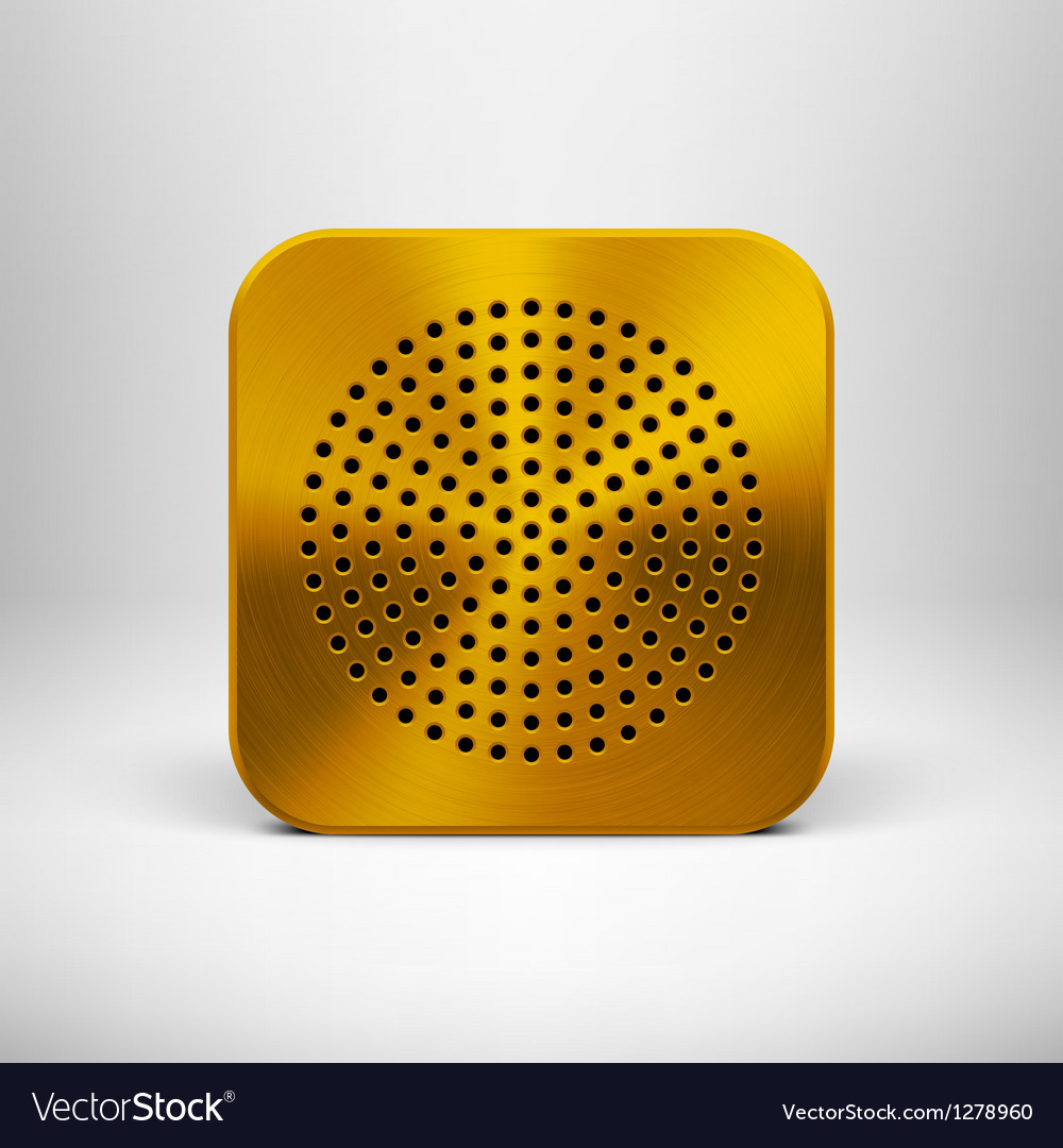 Technology app icon template with gold metal vector