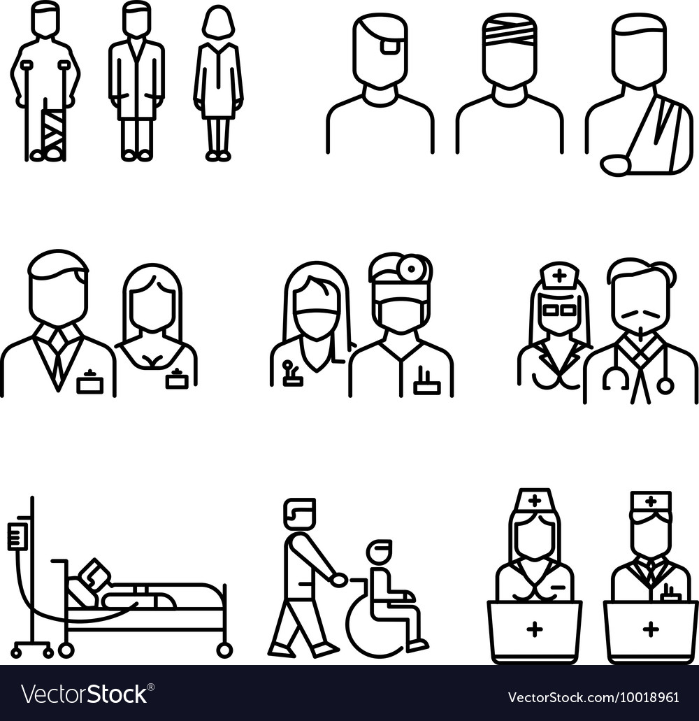 ... thin line icons set vector by MicroOne - Image #10018961 - VectorStock: https://www.vectorstock.com/royalty-free-vector/doctor-patient...