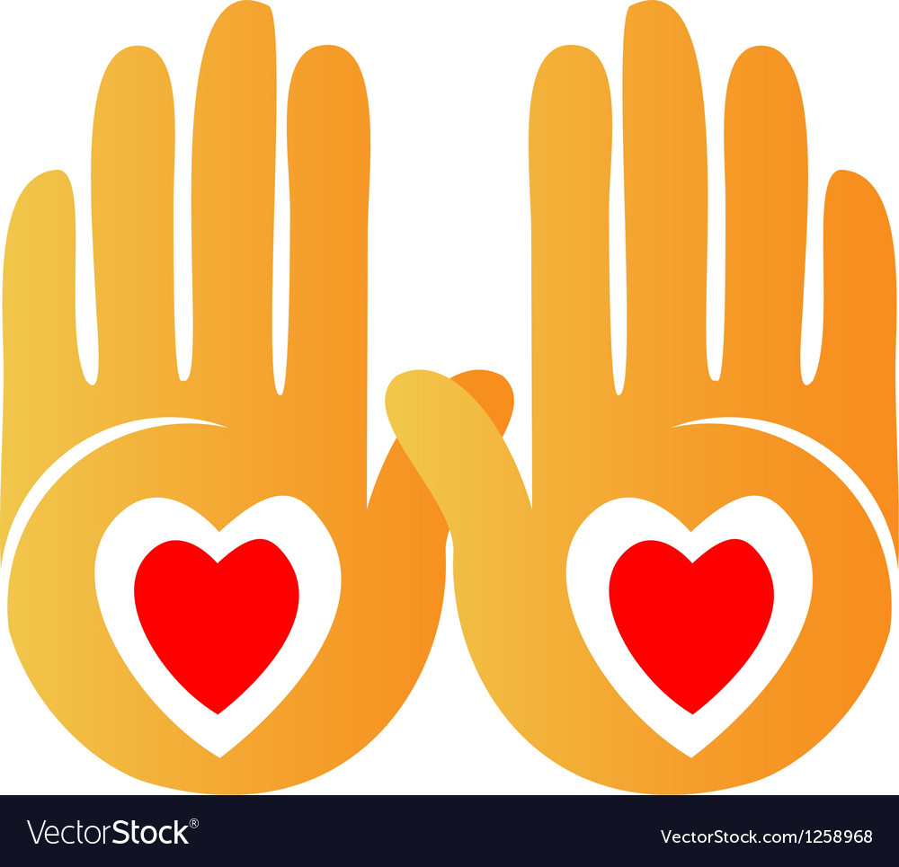 Hands and hearts logo vector