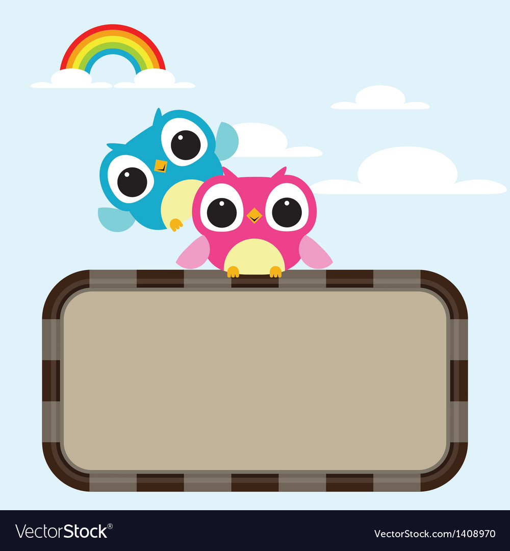 Owls express love on the rainbow background vector