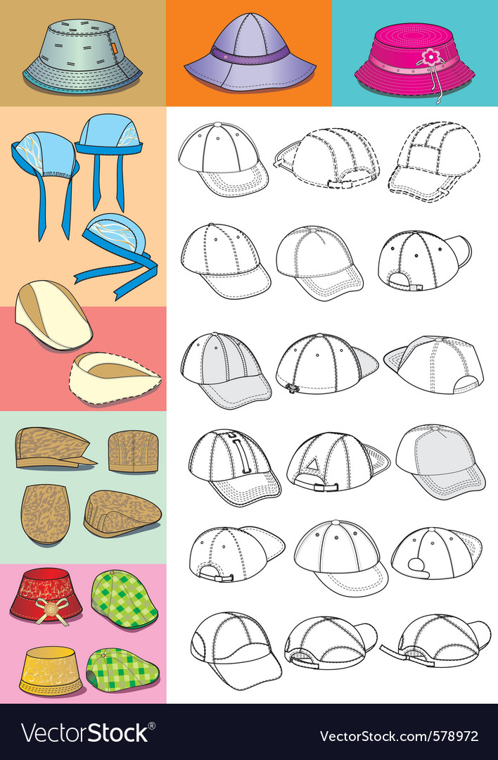 Cartoon hats vector