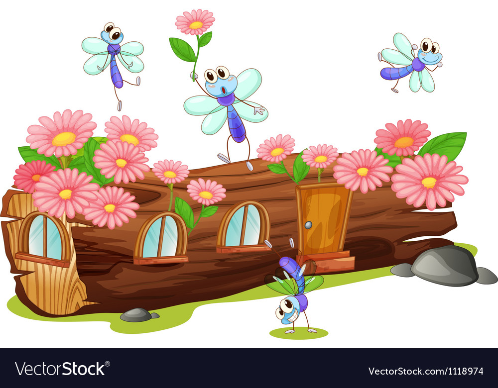 Flies and a wood house vector