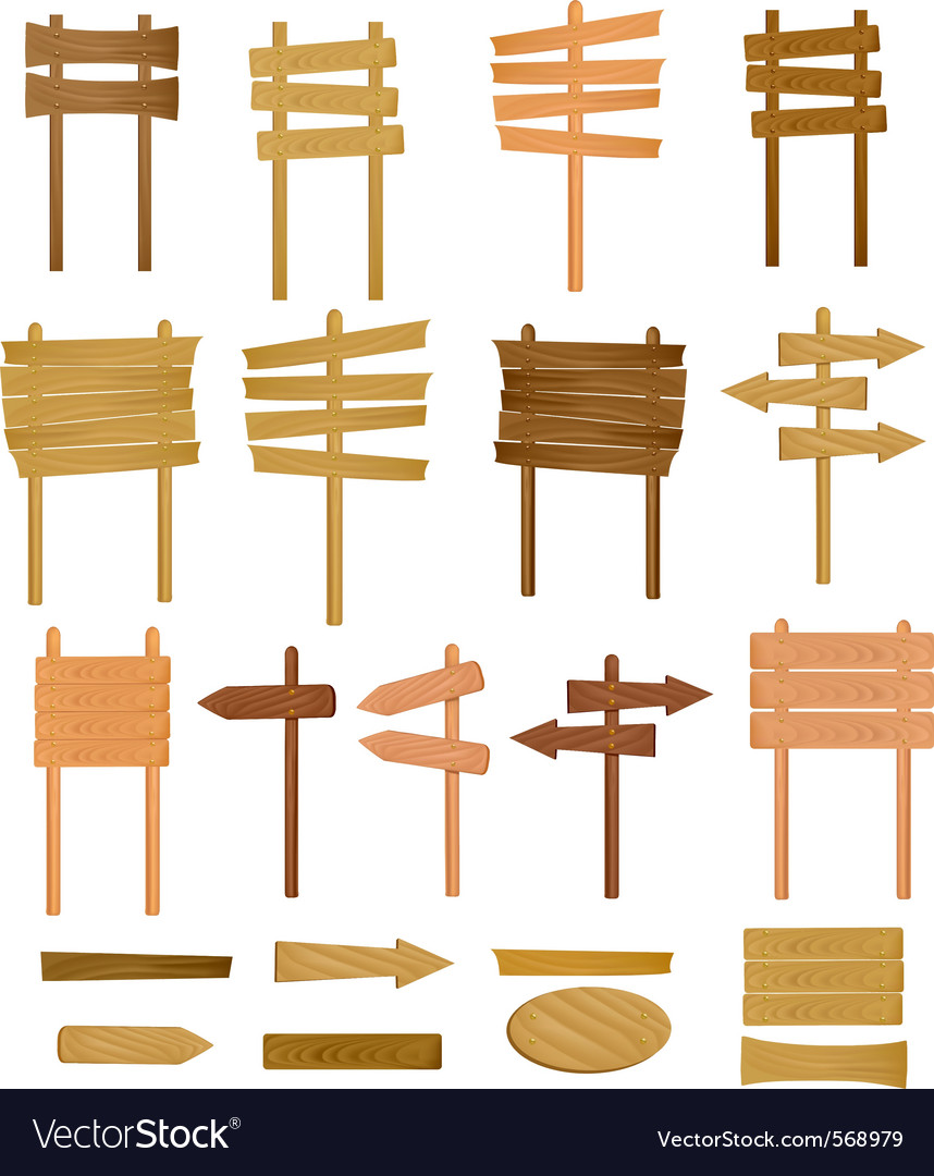 Collection of wooden sign vector