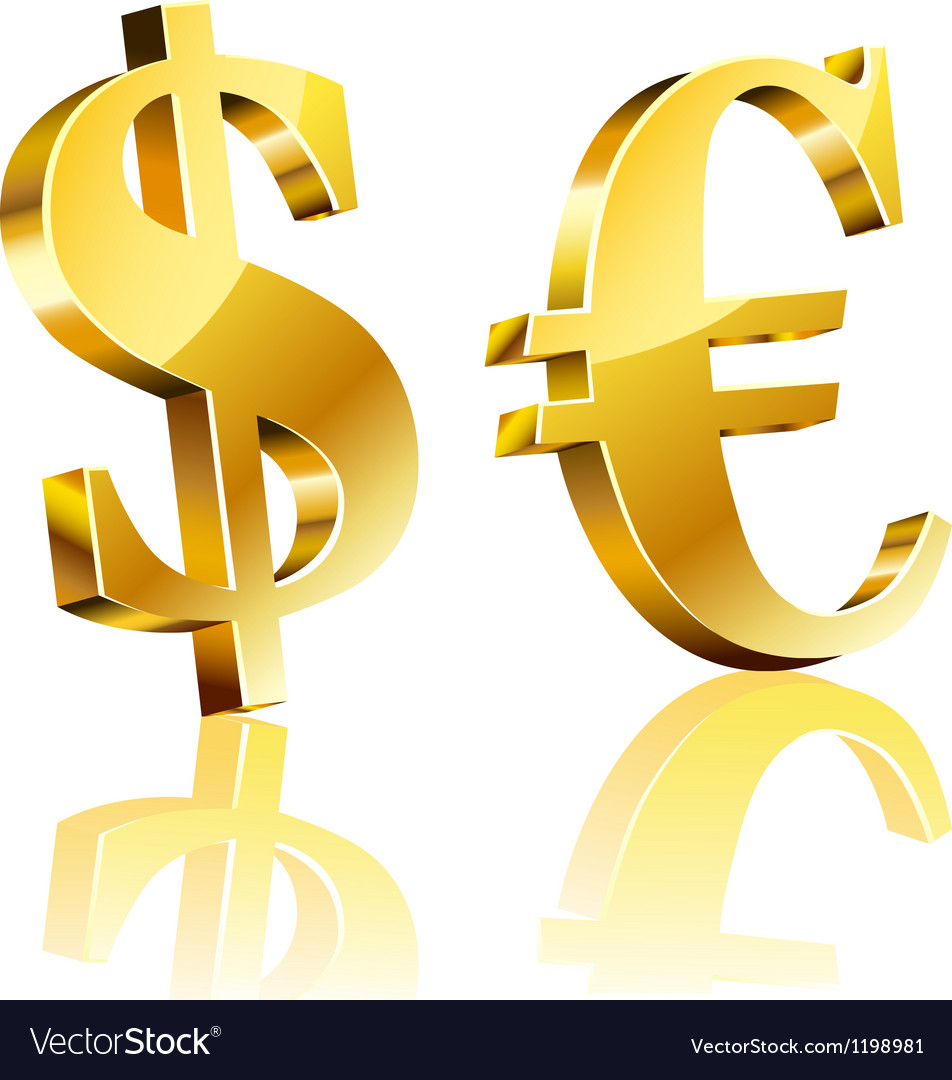 3d dollar and euro sign vector