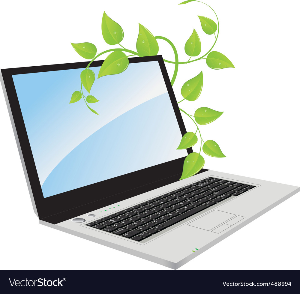 A laptop with a plant vector