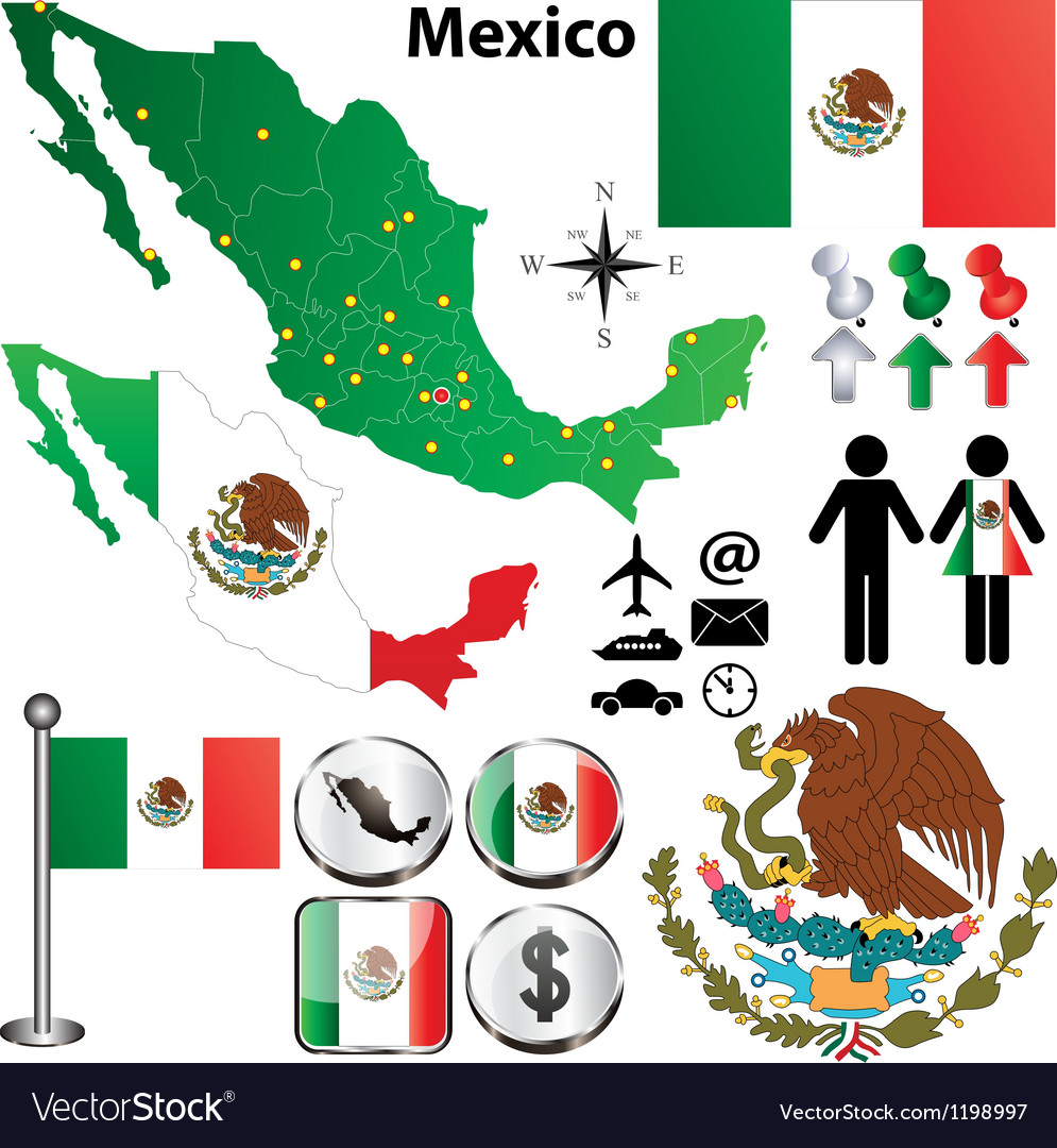 Mexico map with regions vector