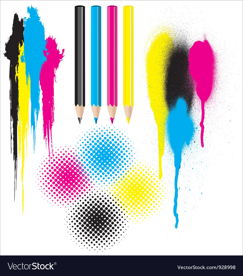 Cmyk splatters pencils and halftones vector