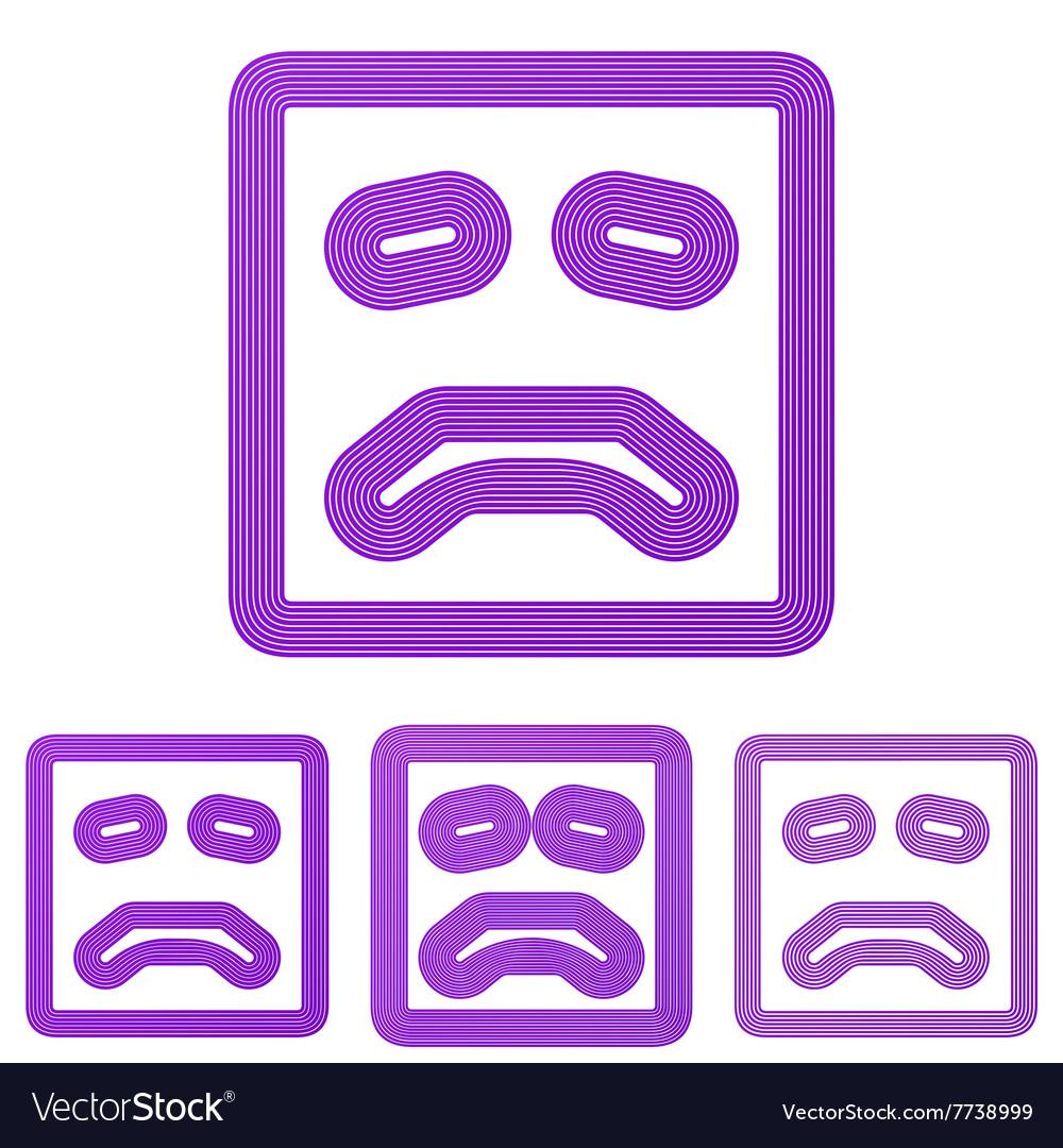 Purple line sadness logo design set