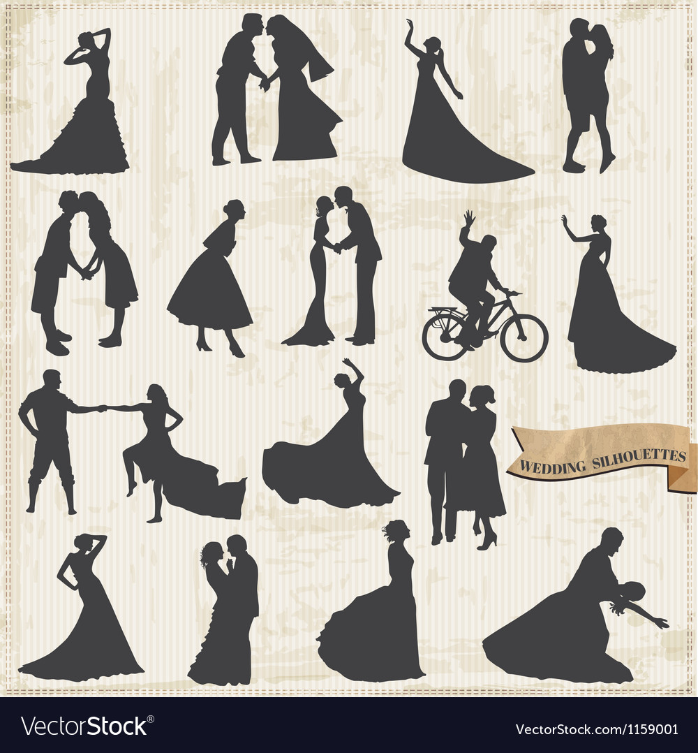 Vintage wedding silhouettes  bride and groom vector