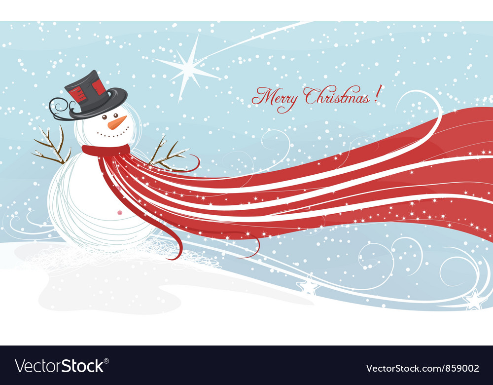 Free christmas background with snowman vector