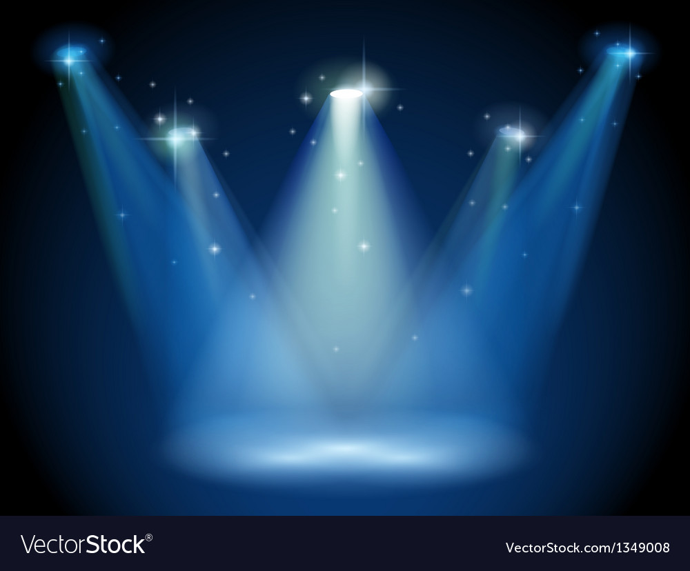 An empty stage with spotlights vector