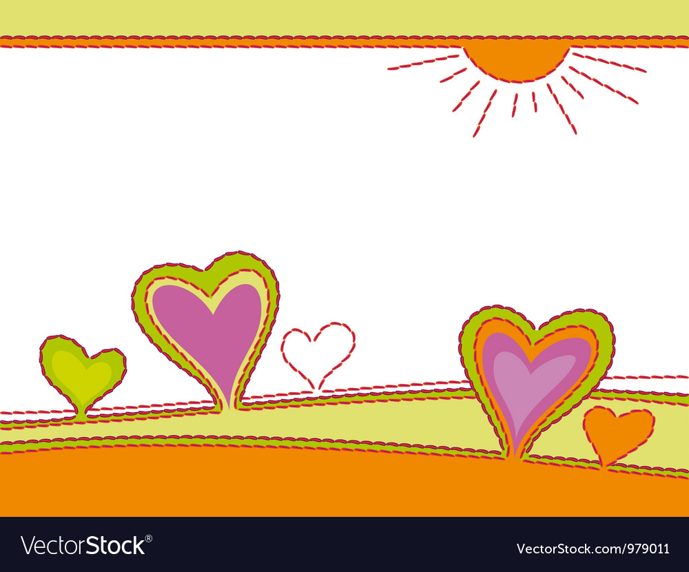 Embroidery of hearts abstract landscape vector