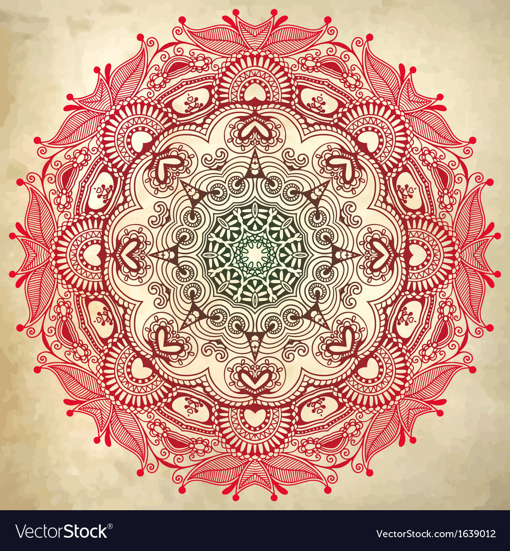 Flower circle design on grunge background vector