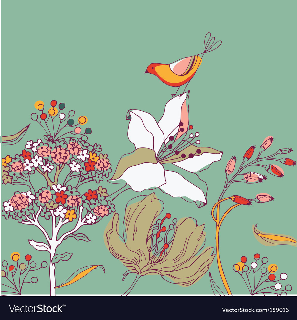 Flower background with bird vector