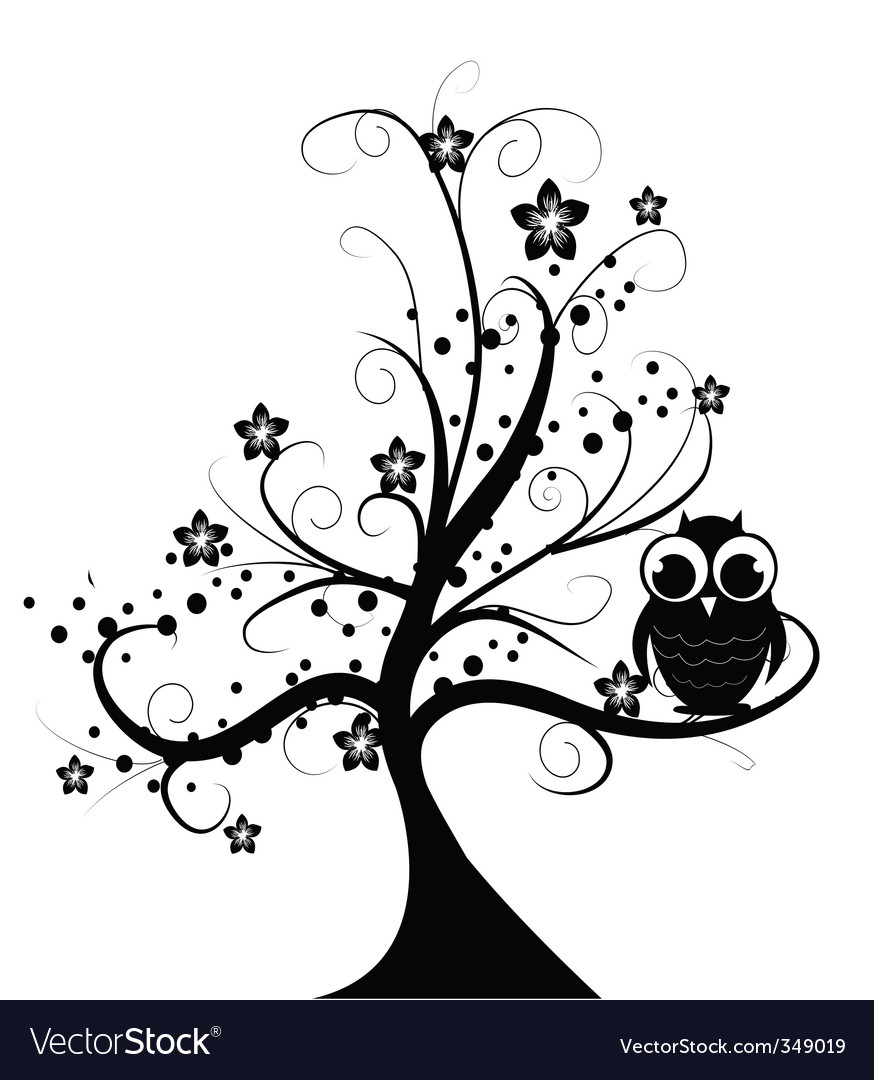 Tree with owl vector