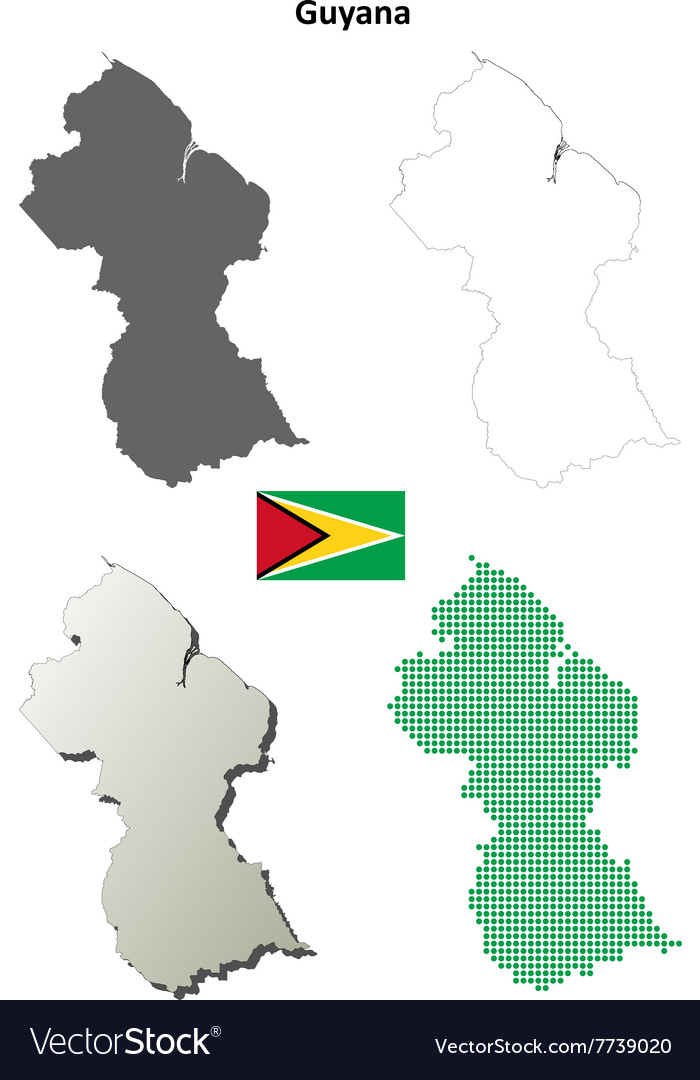 Guyana outline map set