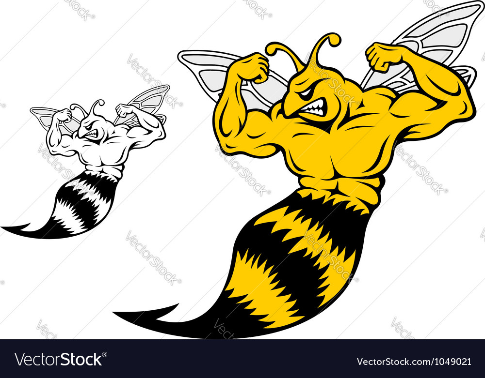 Danger yellow jacket with muscles vector