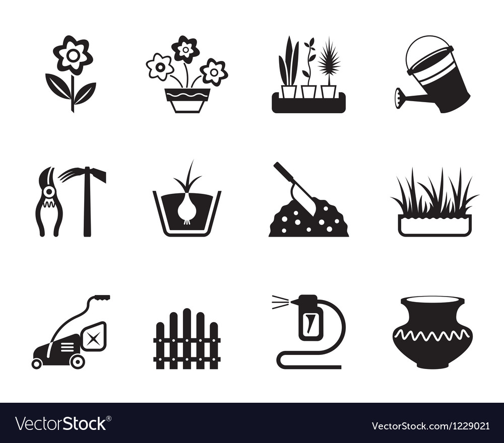 Flower and garden icons set vector