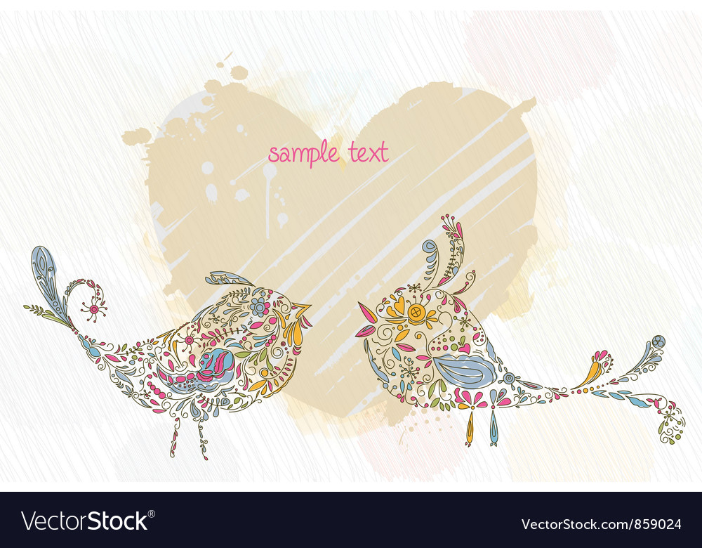 Doodles background with colorful birds