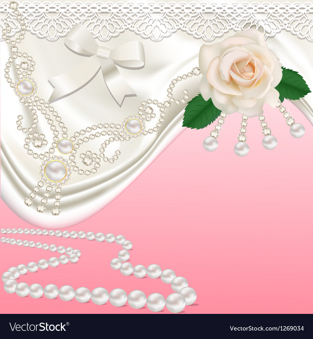 Background with bridal satin and flower vector