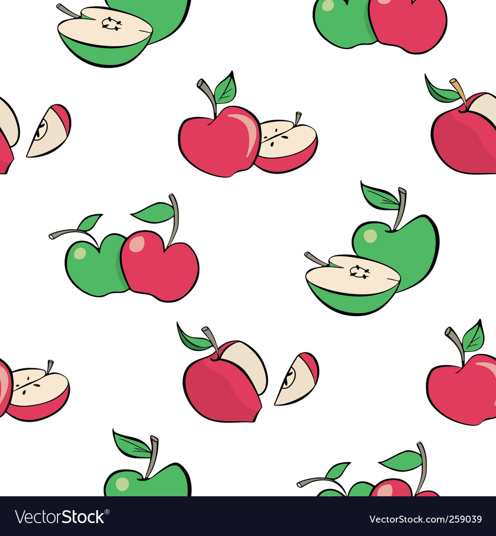 Cartoon apples pattern vector