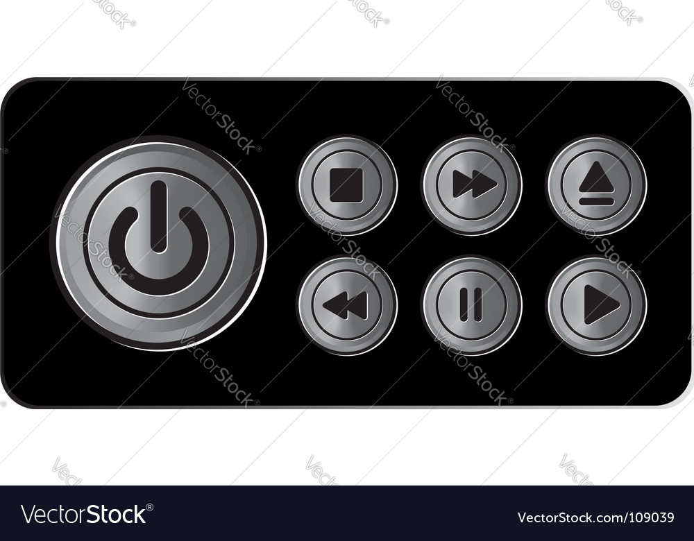 Player icons buttons metal vector