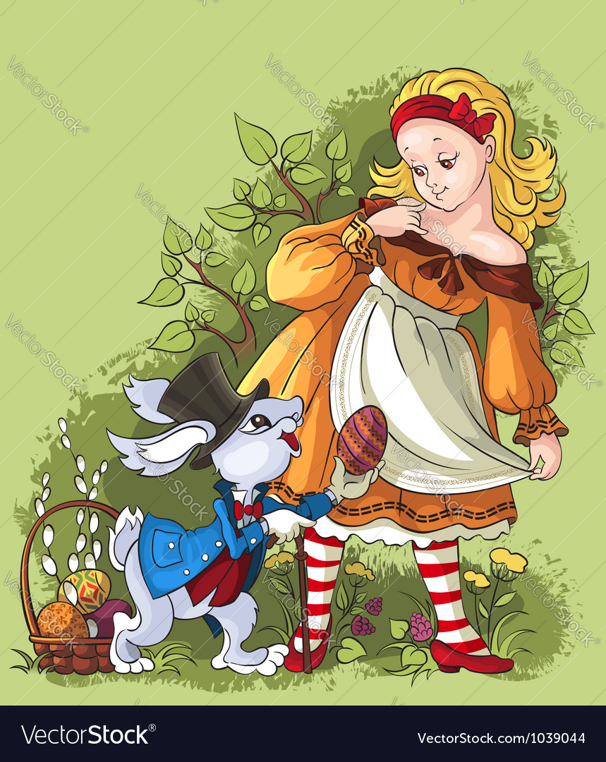 Alice and the white rabbit easter card vector