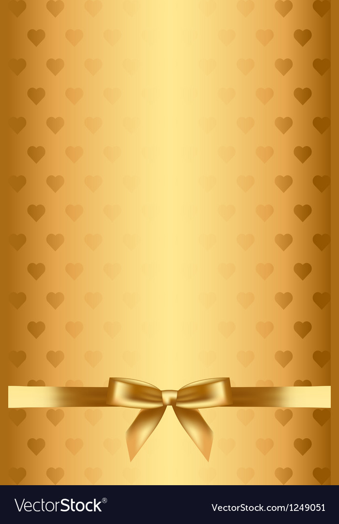 Gold background with hearts and bow vector