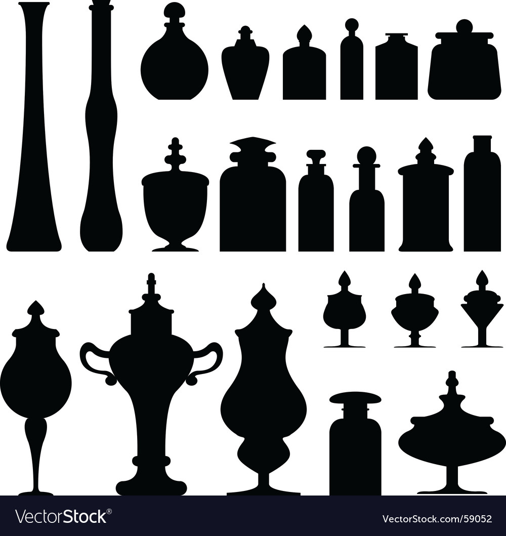 Apothecary cosmetics jars bottles vector