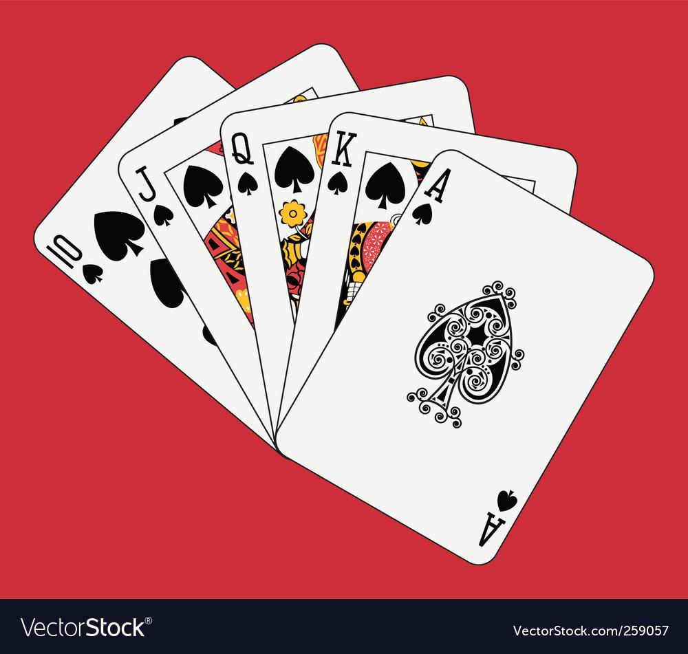 royal flush cards spades vector