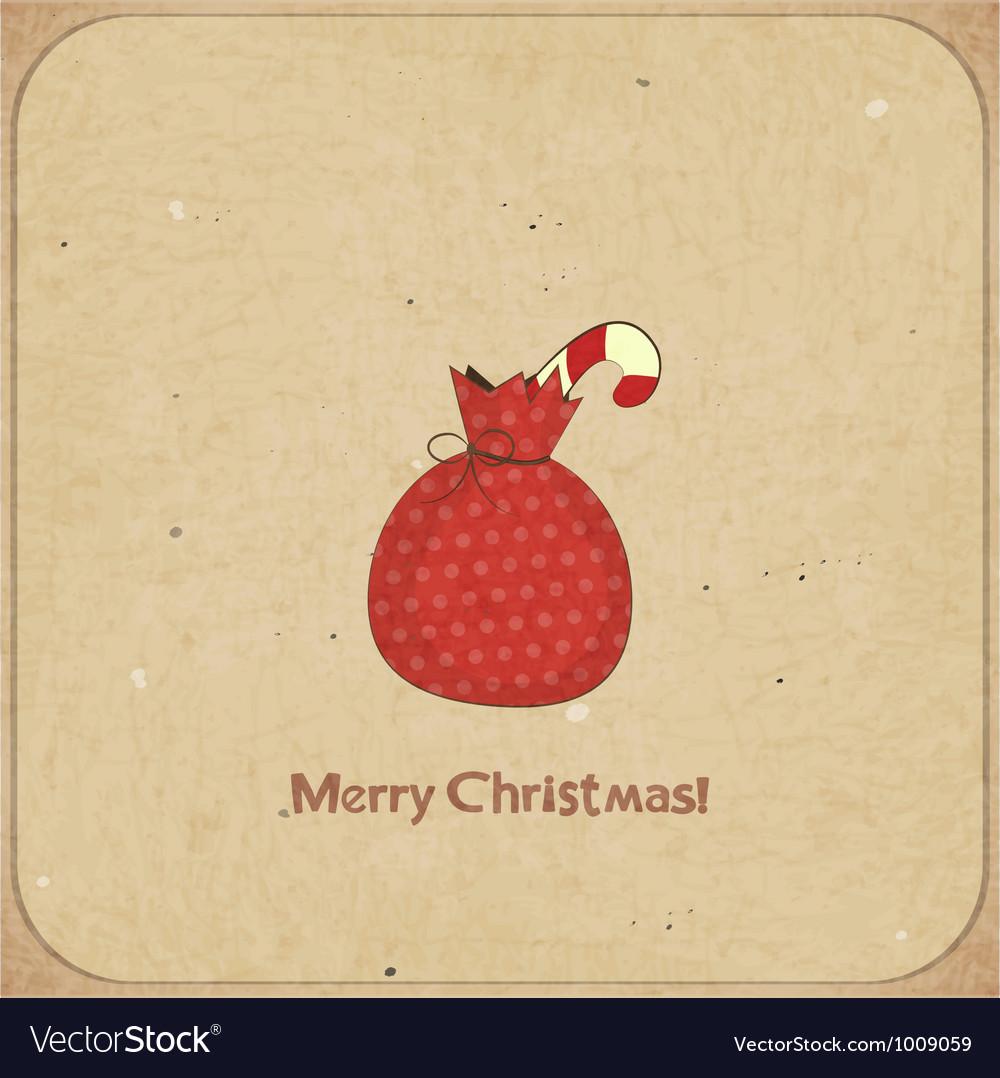 Christmas retro postcard with gift bag