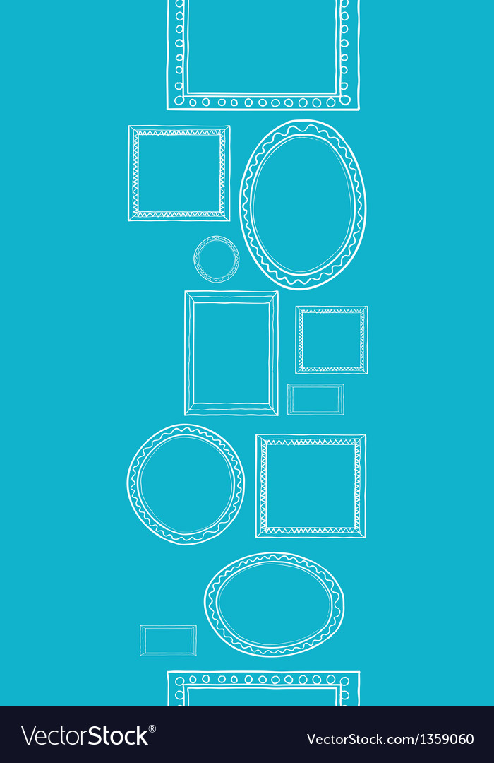 Blue blank picture frames vertical seamless vector