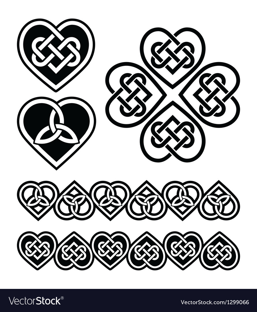 Celtic heart knot  symbols set vector