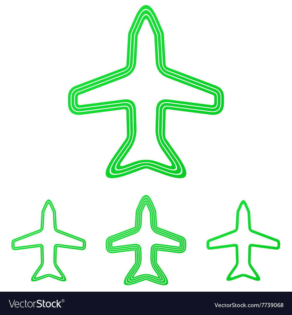 Green line airplane logo design set
