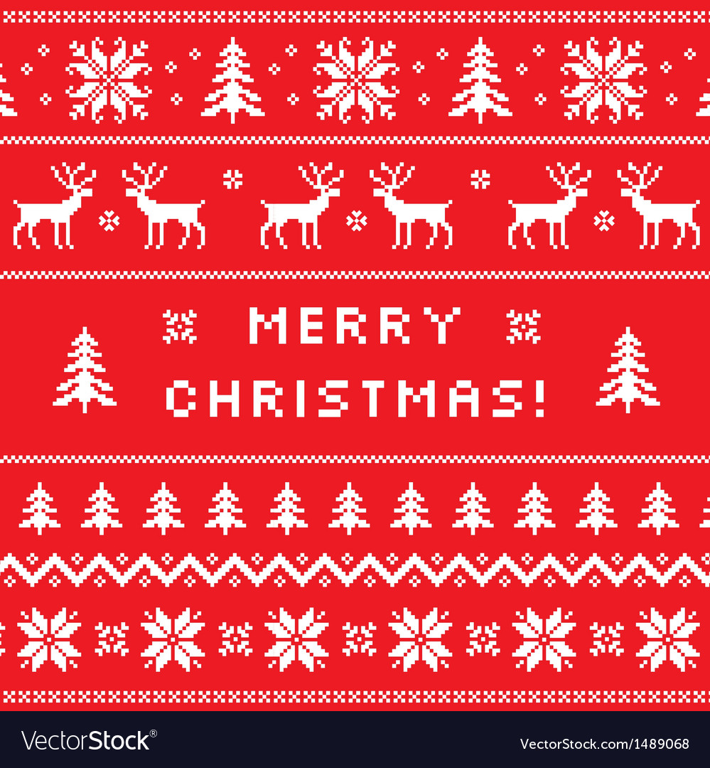 Merry christmas greeting card sweater design vector
