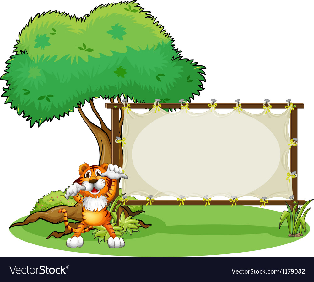 A tiger and the wooden frame vector
