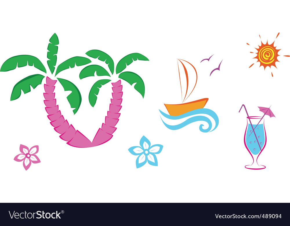 Cute summer icons vector